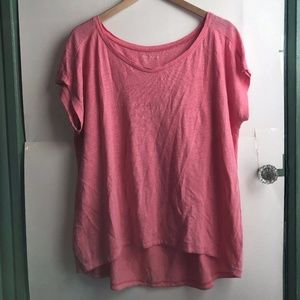 EILEEN FISHER Coral Pink Oversized Linen Blouse